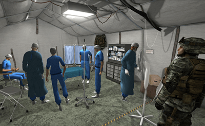 Image of virtual medical training environment - soldiers and surgeons