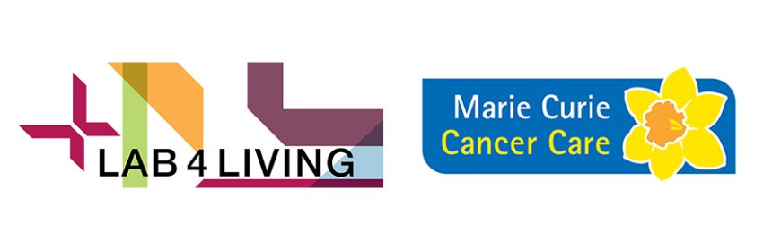 Marie Curie and Lab4Living logos - Design to Care