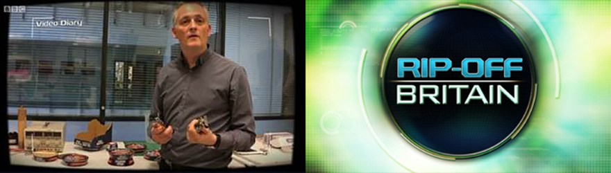 Composite image of John Kirkby on BBC's Rip Off Britain and Rip Off Britain logo - both property of BBC