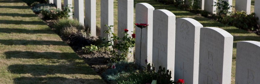 Row of Ypres gravestones, picture courtesy of Professor Esther Johnson