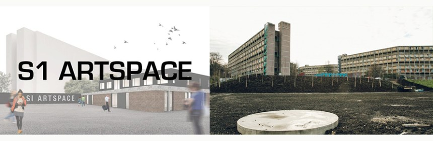 Composite image of S1 Artspace logo and Park Hill Plinths image by India Hobson