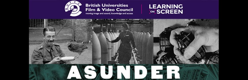 Composite image - still from 'Asunder', logos of BUFVC and Learning on Screen awards