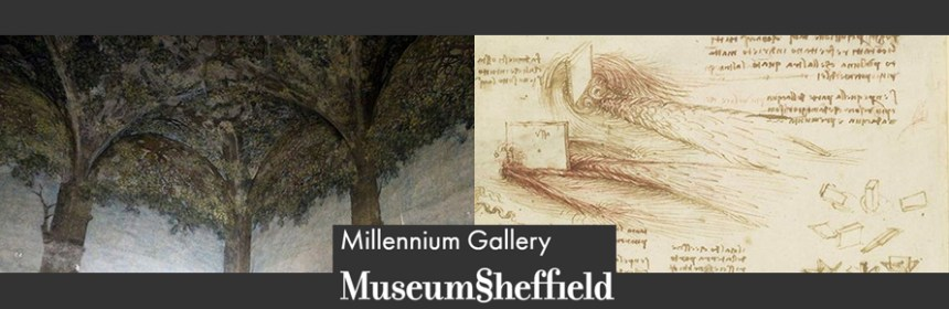 Composite image of Millennium Gallery logo and two images - Leonardo da Vinci, Studies of water, c.1510-13. Royal Collection Trust © Her Majesty Queen Elizabeth II 2019 & Sailko [CC BY 3.0 (https://creativecommons.org/licenses/by/3.0)] - for Penny McCarthy's talks 'Inspired by Leonardo'