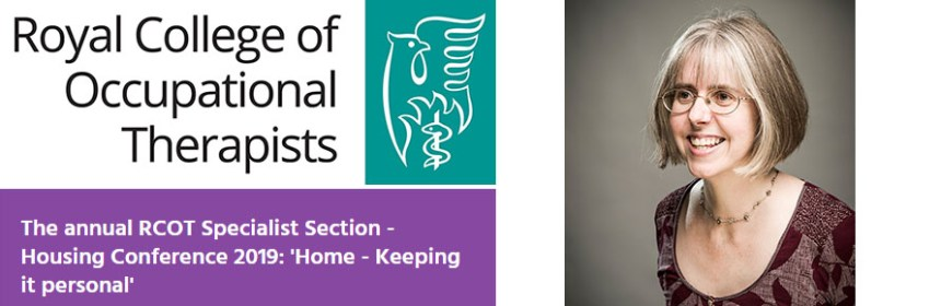 Claire Craig and RCOT logo for seminar Royal College of Occupational Therapists Specialist Section Housing Conference