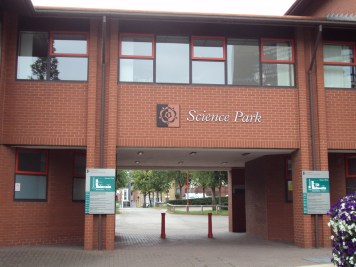 Entrance to the Science Park on Howard Street, archway to the car park