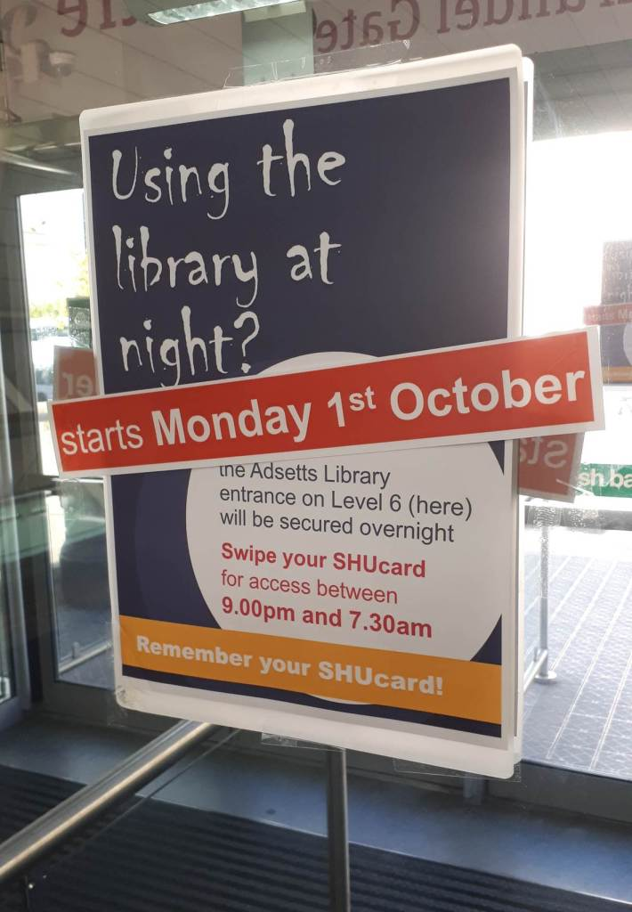 Adsetts Library – SHUcard only access overnight starts Monday 1st October