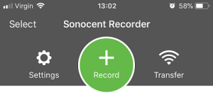 Sonocent Link App - Record button at top of screen