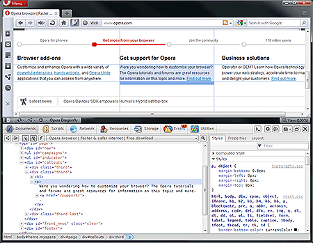 Opera Dragonfly v1.0 browser development and debugging tool