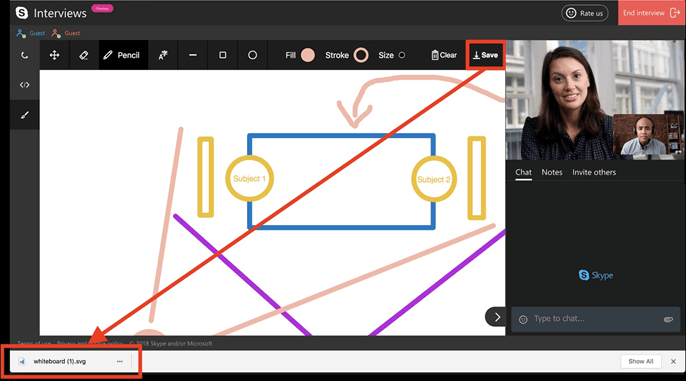 Screenshot displaying how to save a whiteboard in Skype Interviews.