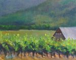 Plein air oil painting using techniques of palette knife painting of a vineyard by Silvia Trujillo, August 2011