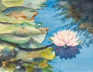 Water Lily, watercolor painting by Norm Rossignol