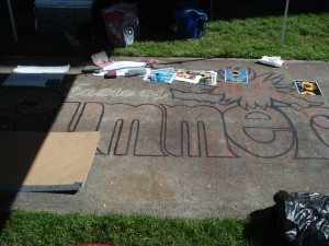 We'll post shots of the progress of Cathy's chalk art piece throughout the day!