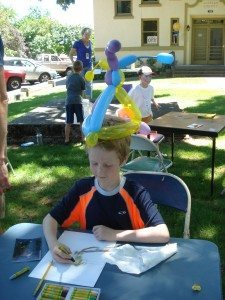 Fun with art! ...and balloons...but he didn't seem quite as excited about that as he did working on his creation...