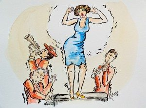 """Piano Dancer"", pen and watercolor painting by Jeanne Azzopardi"