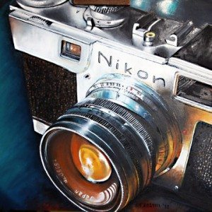 Realist Oil painting of a Nikon camera by Terry Frosini