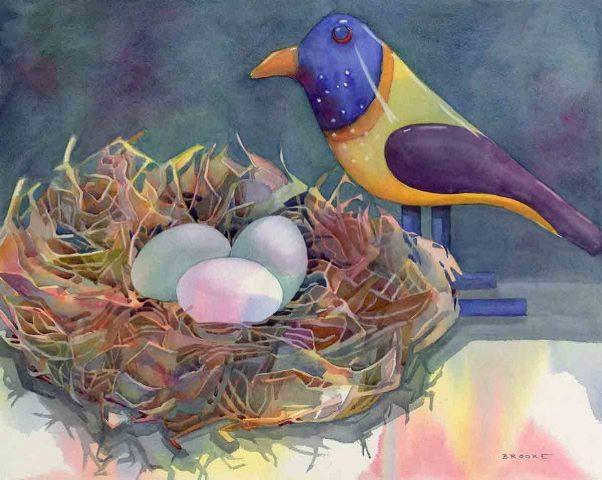 Wooden Bird, watercolor by Anne Brooke