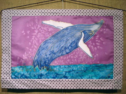 Handpainted silk wall hanging with an endangered sperm whale design by Judy Elliott