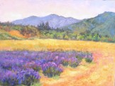 "Lavender farm in the Applegate Valley of southern Oregon, painted by Silvia Trujillo. ""Lavender Fields Forever"" is the name of the farm and it is a quaint spot where Ms. Trujillo will be teaching an upcoming workshop with watercolorist Elaine Frenett"