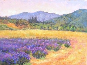 """Lavender Fields Forever"" Plein air oil painting by Silvia Trujillo, Ashland, Oregon 2014"