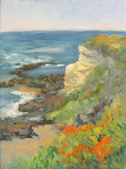 """Cliffhanger"" Plein air oil painting by Silvia Trujillo, Ashland, Oregon 2014"