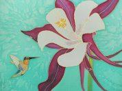 Columbine and Hummingbird, hand painted silk by Judy Elliott