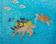 Sea Turtles, hand painted silk by Judy Elliott