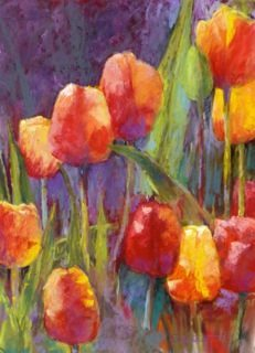Tulips Aglow, Pastel by Steve Bennett