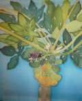 Mynah Bird in Papaya Tree, hand painted silk by Judy Elliott