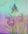 Camas Lilies and Bees, hand painted silk by Judy Elliott