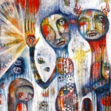 Do Not Judge, by Karen O'Brien, mixed media acrylic