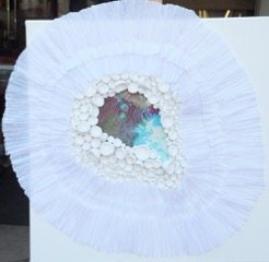 One Anemone, paper sculpture on canvas by Eve Margo Withrow
