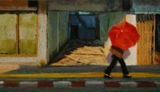 """Red Umbrella,"" Pastel Painting by Judy Richardson"