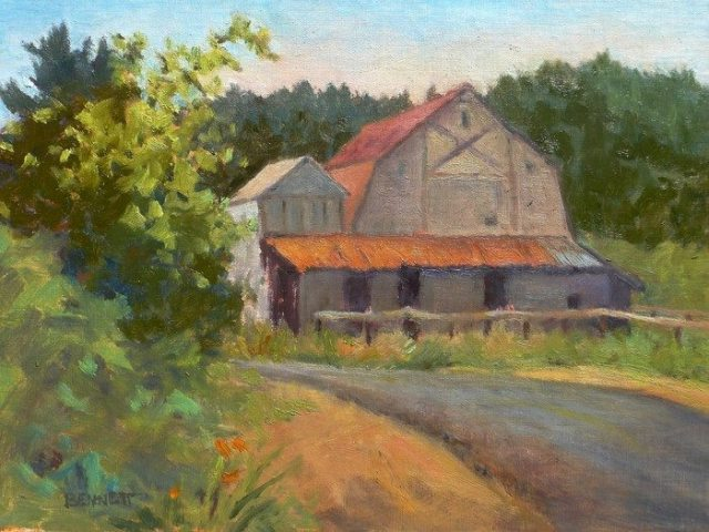 Yasek Loop Barn, Oil by Sue Bennett; Sue Bennett Painting Honored with Museum Purchase Award by Yaquina River Museum of Art, 2015