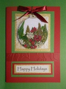 Christmas card with Pressed Flower Tree ornament by Janet London