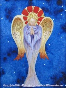 "Angels Reception : Angel, 11"" x 14"" watercolor/collage by Linda Abblett"