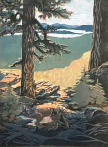 Rogue Gallery June 2016 Exhibits and Events, medford oregon : Sierra Fox, Woodblock print by Melinda Whipplesmith Plank