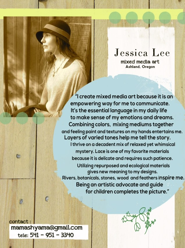 Mixed Media Works by Jessica Lee at GoodBean Coffee :Jessica Lee artist bio and statement for exhibition at Goodbean Coffee, Jacksonville, Oregon in November 2016