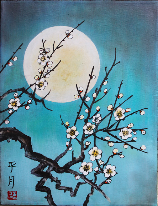 kindred spirits spring art workshops : Cherry Blossom and Asian Moon workshops at Kindred Spirits, April 2017 in Talent Oregon