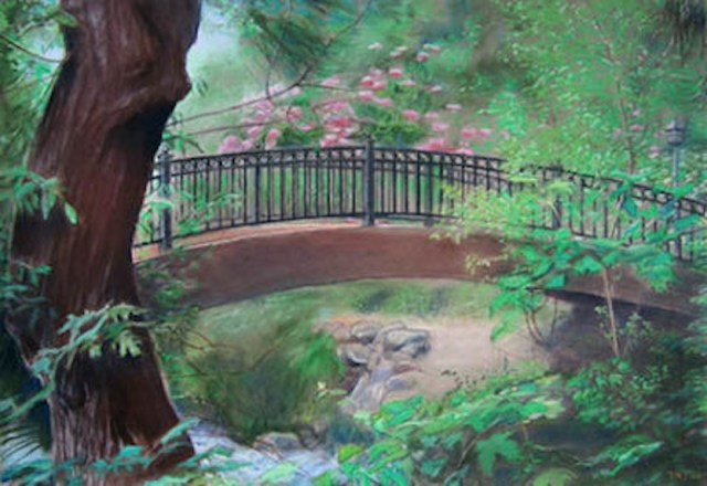 Lithe Bridge, painting by Leif Trygg on exhibit for September 2017 at Oak Leaf Studio in Ashland, Oregpn