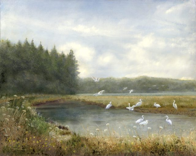 Egrets of North Bend, oil painting by Penny Simmons