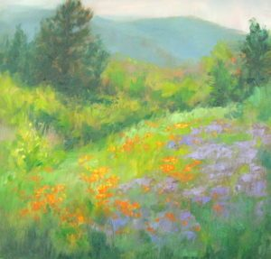 Lupines & Poppies by plein air painter Silvia Trujillo