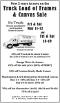 Central Art's Truck Load of Frames & Canvas Sale! Friday and Saturday, May 11-12 AND Friday & Saturday, May 18-19