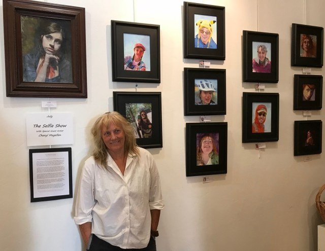 Selfie Exhibit by Cheryl Magellen Running through July 28, Cheryl Magellen will have an exhibition of portrait paintings that were inspired by selfie photo submissions from around the world.