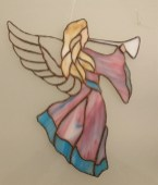 Angels show : Pink Trumpet Angel, stained glass by Linda Dixon