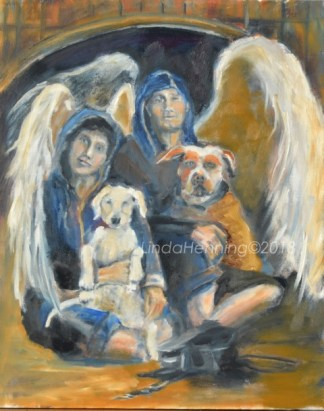 Angels show : Rescue Angels, oil by Linda Henning