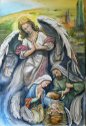 Angels show : Angel with Holy Family, watercolor by Tony Laenen