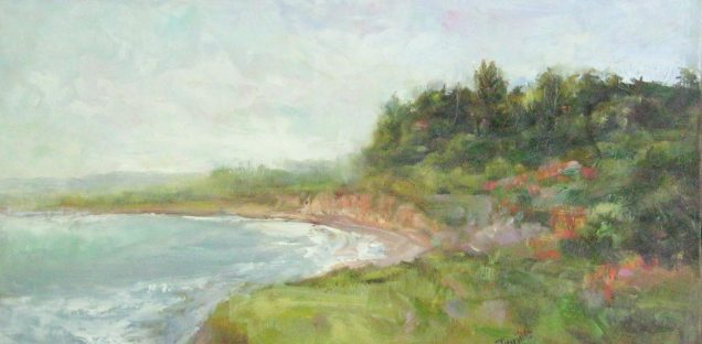 Silvia Trujillo oilpainting of an Oregon beachside cliff