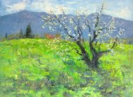 Silvia Trujillo oil paiting of a pear tree in bloom