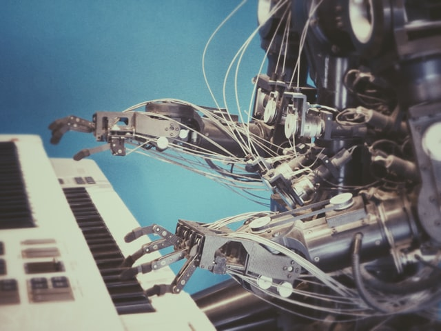 ai robot playing piano