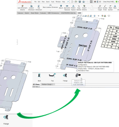 figure 1 automatic bend tables bend notes and flattened 3d view supported in solidworks mbd 2019  [ 1600 x 900 Pixel ]